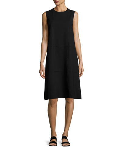 Anji Sleeveless Windowpane A-Line Dress, Black