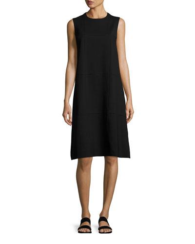 Anji Sleeveless Windowpane A-Line Dress, Black