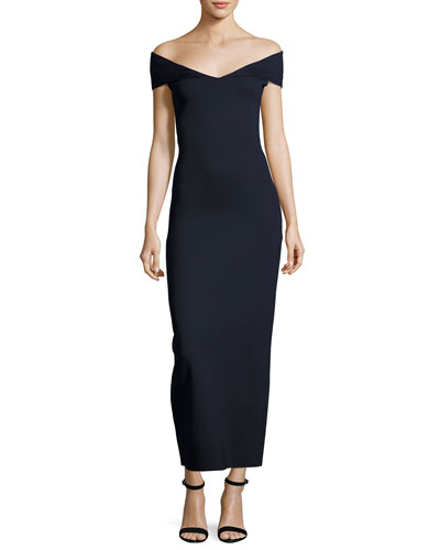 Delmi Off-the-Shoulder Scuba Maxi Dress, Navy
