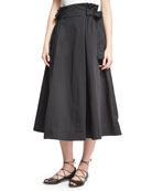 Sateen Tie-Side A-Line Midi Skirt, Black