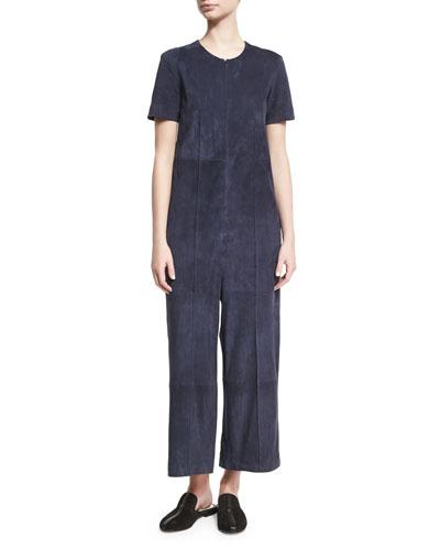 Short-Sleeve Suede Full-Leg Jumpsuit, Indigo