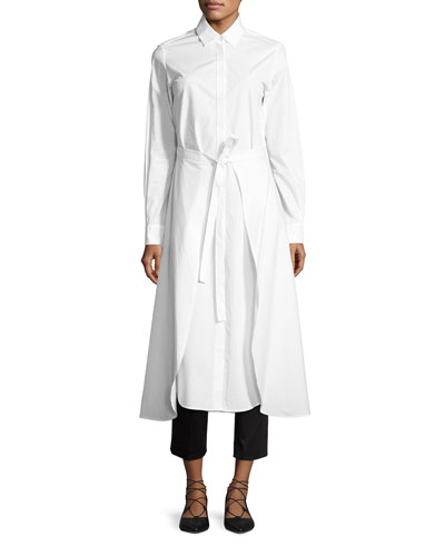 Poplin Apron-Wrap Shirtdress, White