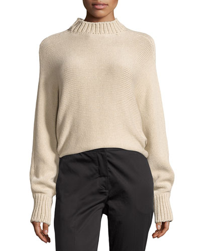 Cropped Mock-Neck Oversized Sweater, Beige