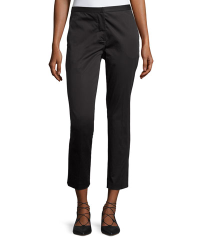 Cropped Sateen Skinny Trousers, Black