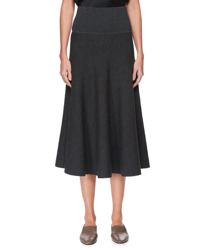 Alessia Wool A-Line Midi Skirt, Black
