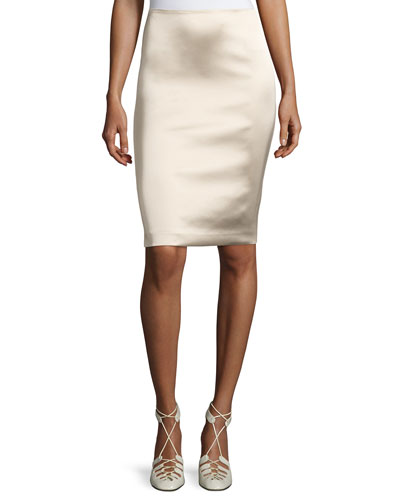 Brenner Satin Pencil Skirt, Khaki