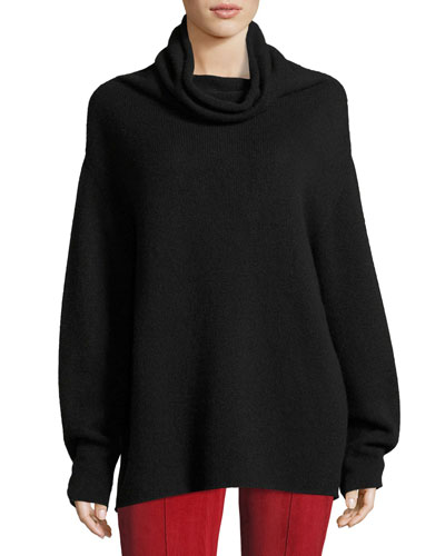 Lexer Oversized Cashmere Cowl-Neck Sweater, Black