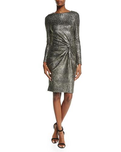 Horus Long-Sleeve Twist-Front Dress