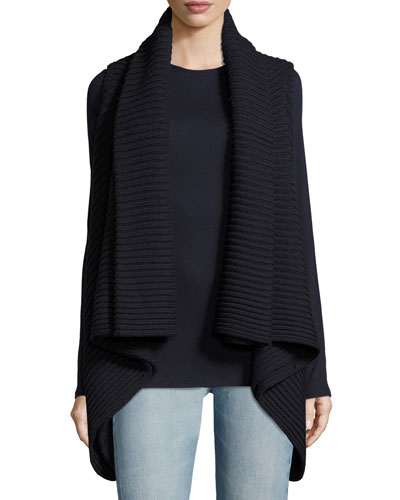 Maisie Ribbed Virgin Wool Cardigan Vest, Navy