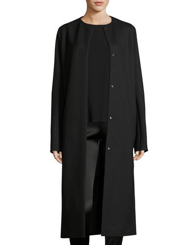 Malma Single-Breasted Long Coat, Black