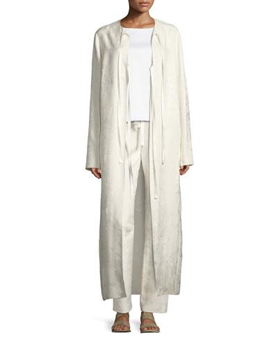 Tiel Silk Jacquard Topper Coat, Off White