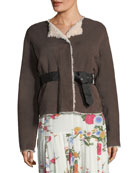 Alison Belted Suede Shearling Coat