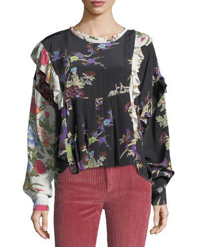 Inny Bouquet Floral Mix-Print Blouse