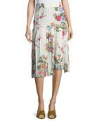 Inaya Bouquet Floral Pleated Midi Skirt