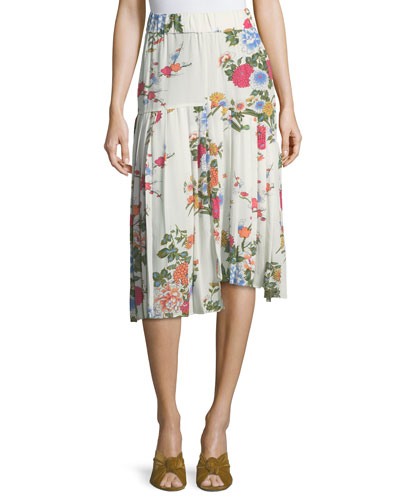 Inaya Bouquet Floral Pleated Midi Skirt