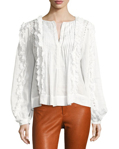 Nell Crochet-Lace Long-Sleeve Top, White