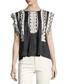 Nandy Crocheted Lace Tunic Top, Black
