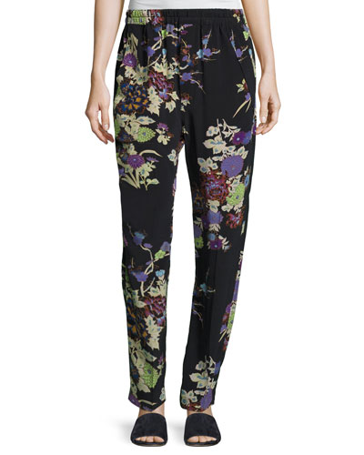 Isley Floral Bouquet Printed Pajama Pants, Black