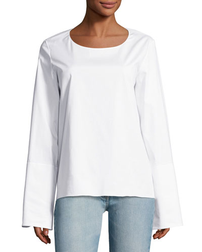 Ivy Poplin Bell-Sleeve Top, White