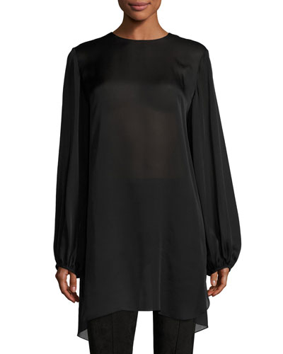 Latou Long-Sleeve Open-Back Satin Charmeuse Top, Black