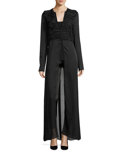 Sabrina Shirred-Front Silk Charmeuse Maxi Dress, Black