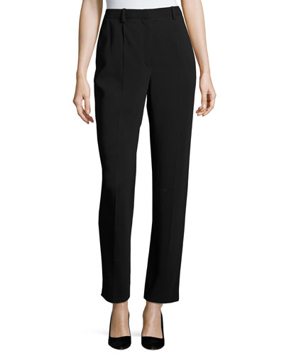William Single-Pleat Straight-Leg Pants, Black