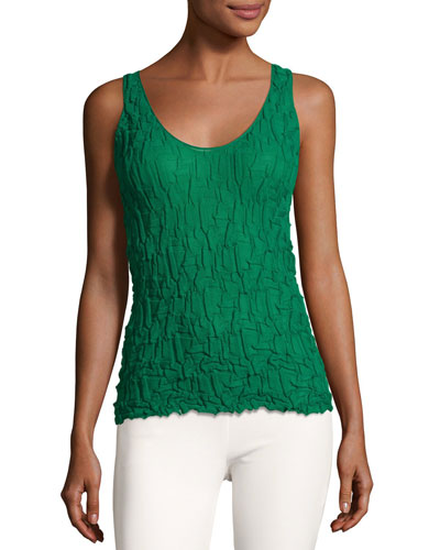 Crinkle-Knit Scoop-Neck Tank Top, Green