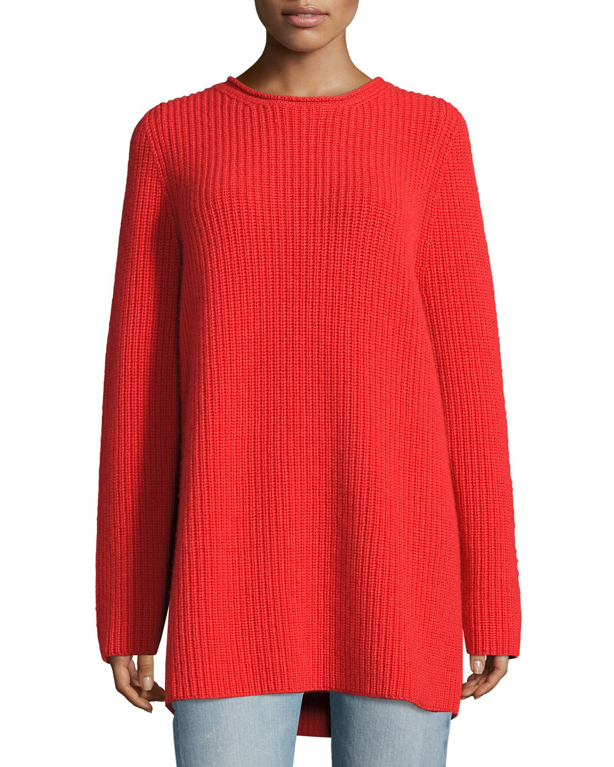 Taby Heavy Cashmere Oversized Sweater, Bright Red