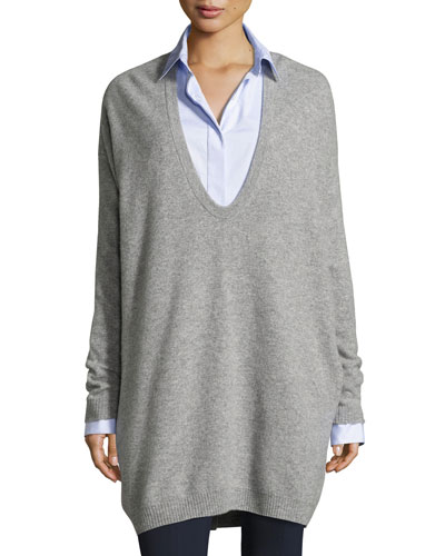 Maita Felted Wool-Cashmere Oversized Sweater, Gray