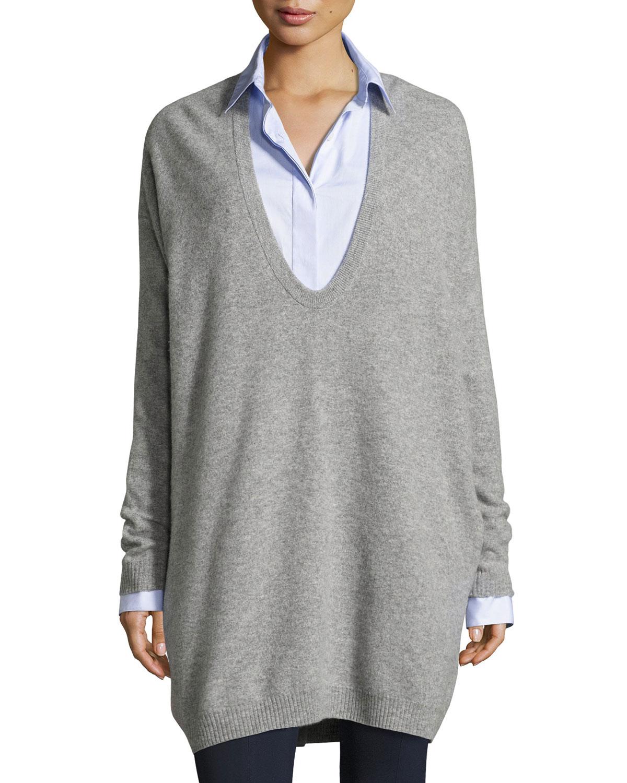 Maita Felted Wool-Cashmere Oversized Sweater, Gray