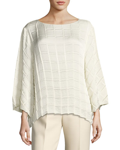 Bela Pleated Crepe Boat-Neck Top, Ivory