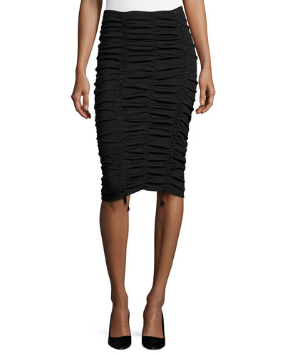 Aldona Ruched Midi Skirt, Black