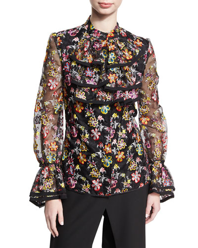 Floral-Embroidered Organza Ruffle Shirt, Multicolor