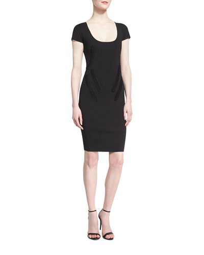 Cap-Sleeve Dress with Tonal Piping, Black