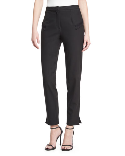 Narrow-Leg Trouser with Piping, Black