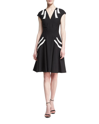 V-Neck Cap-Sleeve Fit & Flare Dress with Contrast Piping, Black/Ivory