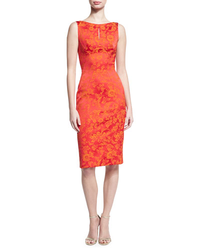 Floral Jacquard Keyhole Sheath Dress, Coral/Orange