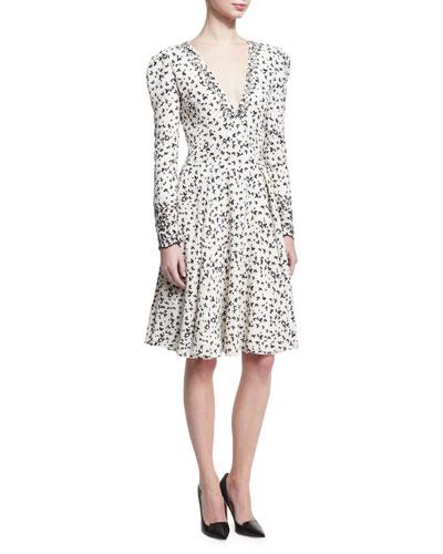 Long-Sleeve Butterfly V-Neck Dress, Ivory/Black
