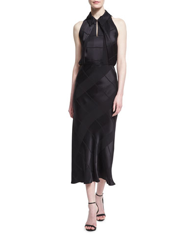 Sleeveless Crepe Jacquard Midi Dress, Black