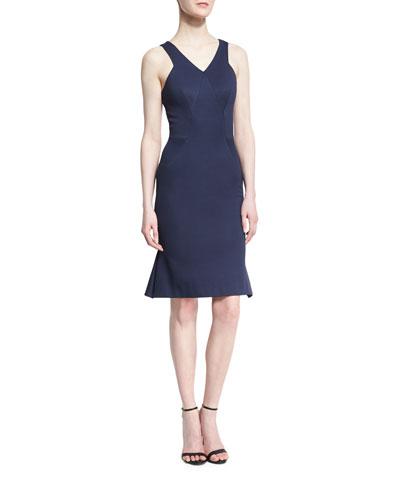 Sleeveless Bandage Jersey Dress, Navy