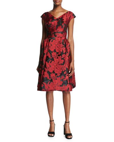Floral Jacquard Fit & Flare Cocktail Dress, Crimson