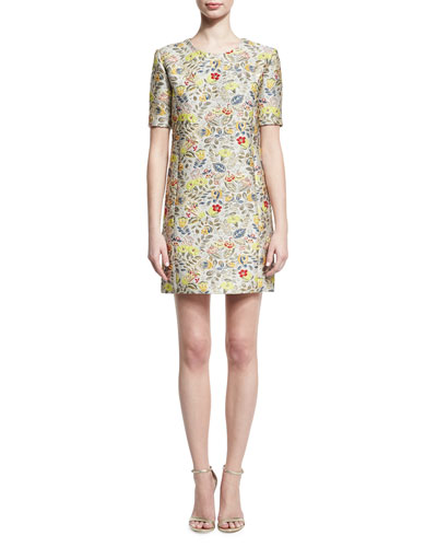 Floral Jacquard Short-Sleeve Cocktail Shift Dress, Gold Bouquet