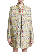 Floral Jacquard Car Coat, Gold Bouquet