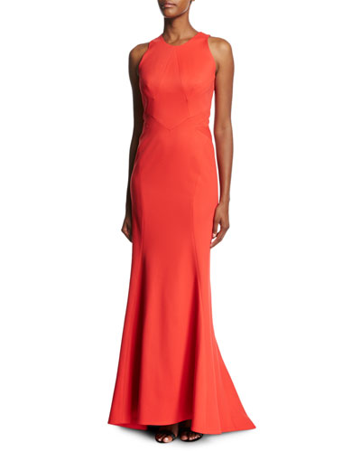 Bandage Jersey Sleeveless Gown, Coral