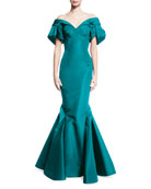 Off-the-Shoulder Trumpet Gown, Aquamarine
