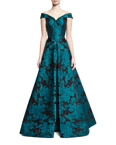 Off-the-Shoulder Floral Jacquard Gown, Teal