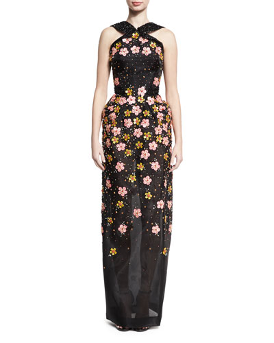 Floral-Embroidered Halter Gown, Black/Multicolor