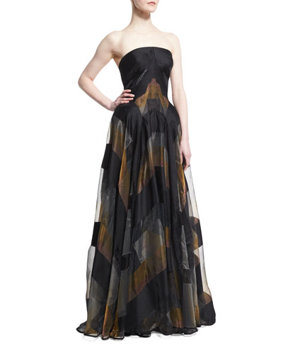 Strapless Metallic-Striped Organza Gown, Black