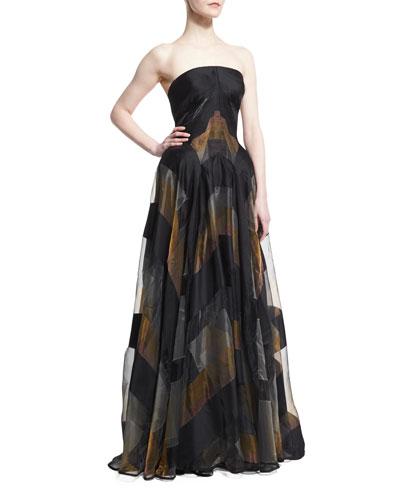 Strapless Metallic-Striped Organza Gown, Black