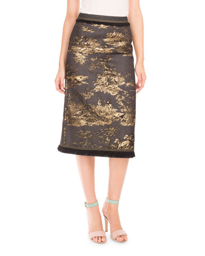 Brocade Frayed-Trim Pencil Skirt, Navy/Gold